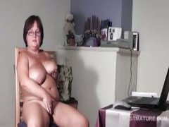 large titted old babe pleasuring her horny vagina