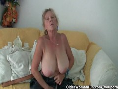 grandma with huge melons masturbates in pantyhose