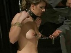 gorgeous broad gets bondaged and drilled