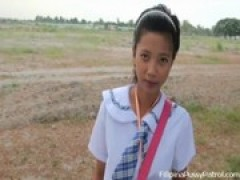 Real life chinese schoolgirl outdoors