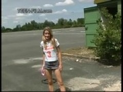 young Laura shows twat in public