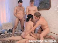 Mama Wants 4 Boys To Cover Her In Hot jizz