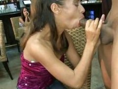 hoes licks cock and gets sperm all