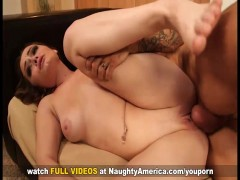 Hot Brunette gets her shaved pussy hammered by cheating married man