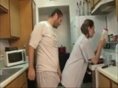 brother and sister blowjob in the kitchen