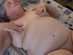 wide granny masturbating with long ebony dildo