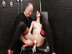 Bound girl forced to orgasm