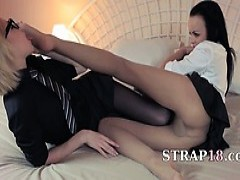Horny blondie Lets Coitus By big Strapon
