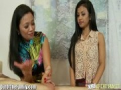 chinese Mother Teaches Tiny teen to blow rod