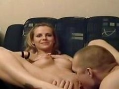 Shaved pussy is caressed