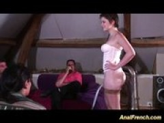 Anal French babe gets ganbanged
