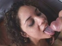 Latin hussy swallowing strong dong