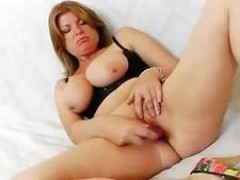 Pink Plastic dong In Shaved Milf Fuck Hole