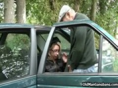 Taxi blowjob and threesome