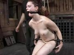 Spreading open slaves pussy