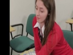 CFNM schoolgirl tugs on his tiny dick