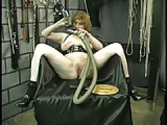 Slave gets bound by ropes and behind lashed hard with whip