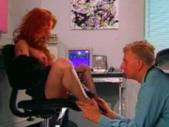 Spiked heels redhead whore lets him lick