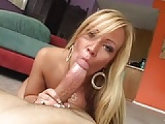 Milf bitch, real blonde- humongous melons - blows and gets screwed.
