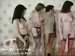 Lined up to fuck in hot vintage f.