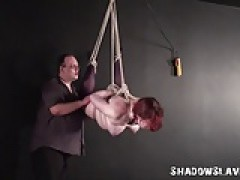 Suspension bondage and needle bdsm of chunky slave woman
