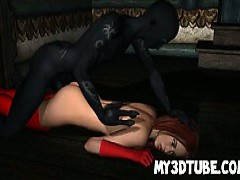 Hot 3d Redhead licks meat And Get hammered By A Demon