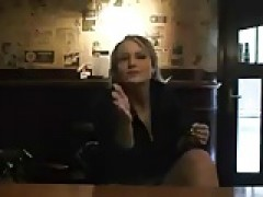 blondie gives blowjob in bar then fucking in public