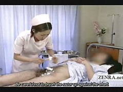 Subtitled medical CFNM handjob cu.