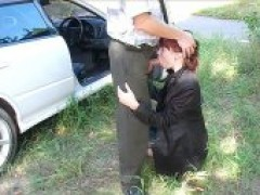 Redhead whore lady Gives Hot Head In The Car