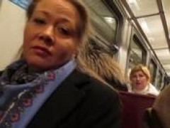 lady flashing fishnet stockings in a train
