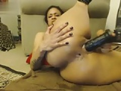 busty black toying with black toy