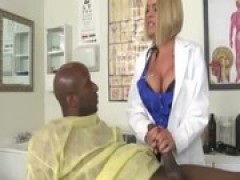 Doctors in uniform play with a ebony penis