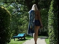 Small breasts blondy gets her twat banged outdoors