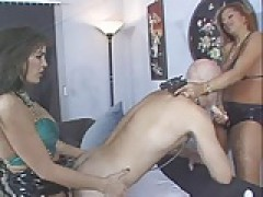Thief punished with strapon by two mistresses