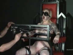 Tower of pain tortures of yellow-haired lifestyle slavegirl Angel in enormous core painslut punishments and cruel nipple clamped sadism