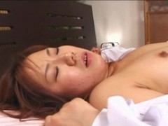 Japanese sweetie Ami Shono in an uncensored three some