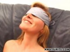 Blindfolded Amateur girlfriend swallows And fucks