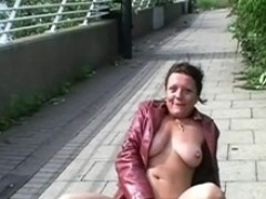 old exhibitionist touching in public and squirting onto pavements by cougar Tinker flasher out of doors