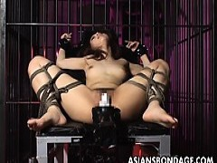 lovely chick Is Tied Up And plowed By large Machine