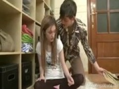 Brother seduces sister sexy caresses