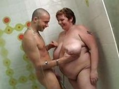 huge BBW gets nailed in the shower