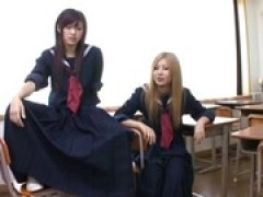 Japanese lesbian cougar and school lady