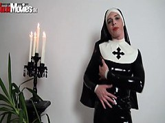 sleazy Latex Nun Rubbing Her dirty Latex Costume