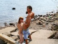 Redhead Foxy Real Outdoor Sex Paid By studs