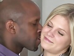 fine yellow-haired interracial threesome