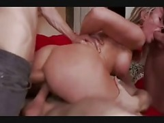 BDSM gangbang with hot blonde cou.