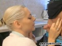 Amateur GF swallows And rides In The Kitchen