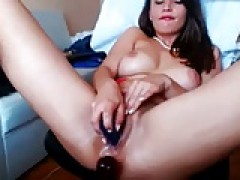 girl stuffs cunt with panties - dildo and vibe twat action