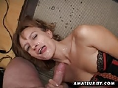 Amateur Milf gets her butt and snatch toyed with facial spunk