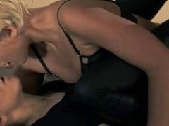 Brunette model gets slammed with strap on
